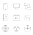 Management icons set outline style vector image