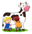 Milking A Cow vector image vector image