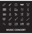music concert editable line icons set on vector image vector image