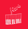 music icon piano and musical notes vector image