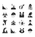 Natural Disasters Monochrome Icons Set vector image vector image