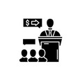 presentation event black icon sign on vector image