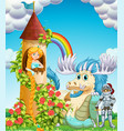 princess in tower with knight and dragon vector image vector image