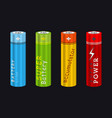 realistic aa type battery set vector image vector image