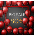 Realistic red balloons with text Big Sale 80 vector image vector image