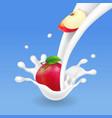 red apple in milk splash fruit and yogurt vector image vector image