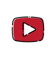red play button icon in outline style vector image vector image