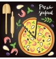 Seafood Pizza with vector image vector image