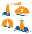 Set of with lighthouse vector image