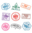 set travel visa stamps for passports abstract vector image vector image