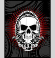 skull with gun vector image vector image