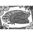 The barn owl with pattern vector image vector image