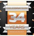 Thirty four years anniversary celebration golden vector image vector image