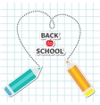 Two pencils drawing dash heart Paper sheet vector image vector image
