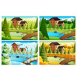 village in four seasons vector image