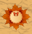 Vintage greeting card with autumn maple leaves vector image vector image