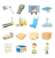 warehouse logistic storage icons set cartoon style vector image vector image