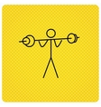 Weightlifting icon Heavy fitness sign vector image vector image