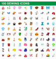 100 sewing icons set cartoon style vector image vector image