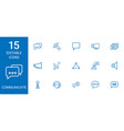 15 communicate icons vector image vector image