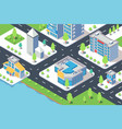 3d isometric city building with hotel shop river vector image