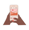 african human hands holding smartphone and take vector image