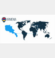 armenia location on the world map for vector image vector image