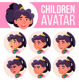 asian girl avatar set kid primary school vector image vector image