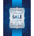 blue christmas background and label with sale offe vector image