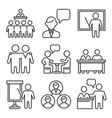 business conference and meeting icons set line vector image vector image