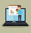 businessman working with laptop vector image