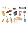 cartoon musical instruments acoustic electric vector image vector image