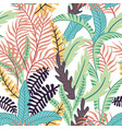 Cartoon tropical leaves seamless white background