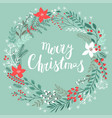 christmas callygraphic floral wreath - hand drawn vector image vector image