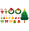 christmas tree and many ornaments vector image