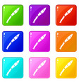 crooked knife icons 9 set vector image vector image
