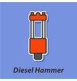 diesel hammer color flat icon vector image vector image