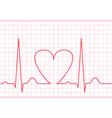 ECG - electrocardiogram on red grid vector image vector image