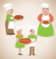 Family of chefs and delicious pizza vector image vector image