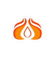 fire flame droplet shape logo design template vector image