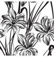 floral engraved seamless pattern flower garden vector image vector image