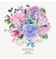 floral greeting card with blooming hydrangea vector image vector image