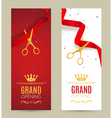 Grand Opening invitation banner Red Ribbon cut vector image vector image