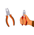 hand with pliers cartoon vector image vector image