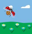 ladybug flying over the meadow vector image vector image