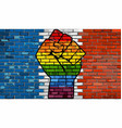 lgbt protest fist on a france brick wall flag vector image vector image