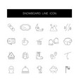 line icons set snowboard pack vector image vector image
