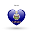 Love Kansas state symbol Heart flag icon vector image vector image