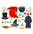 magician accessories colorful flat vector image
