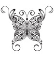 monochrome tattoo butterfly vector image vector image